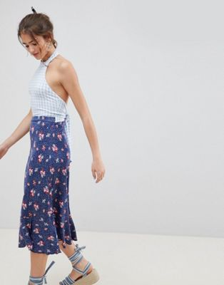 ASOS DESIGN Halterneck Midi Sundress In Mixed Floral Gingham Print