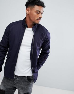ASOS DESIGN harrington jacket with funnel neck in navy