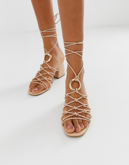 ASOS DESIGN Harvey knotted ring detail sandals