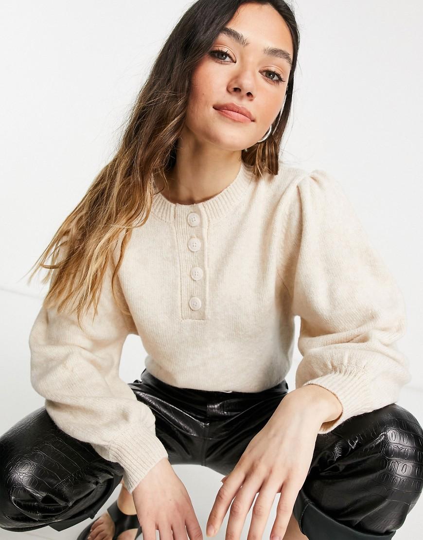 ASOS DESIGN - Havrefarvet trøje med knapstolpe-Neutral