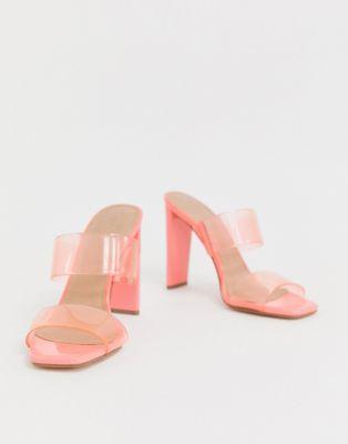 ASOS DESIGN Hayward clear heeled mule in pink