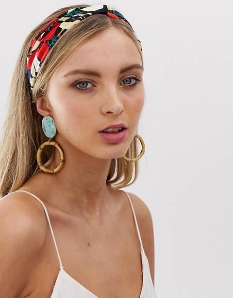 ASOS DESIGN headband with knot front in large painted floral print