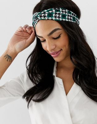 ASOS DESIGN headband with twist front in green gingham print
