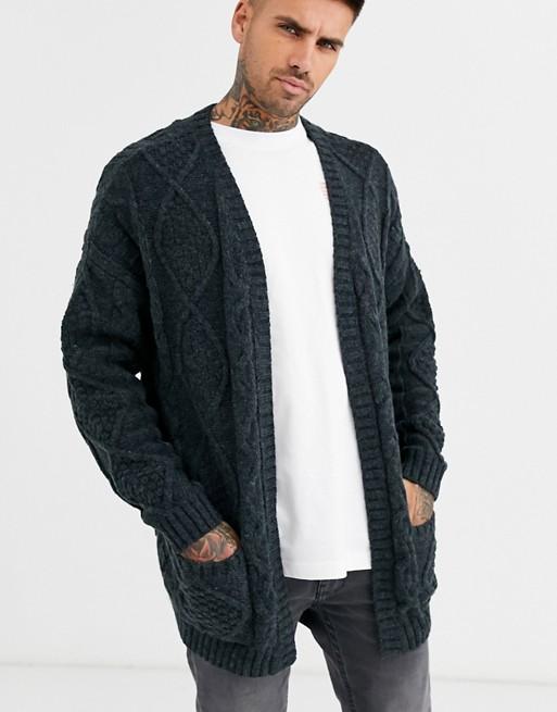 ASOS DESIGN heavyweight cable knit cardigan in dark gray