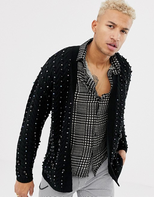 Image 1 of ASOS DESIGN heavyweight cable knit cardigan with beads