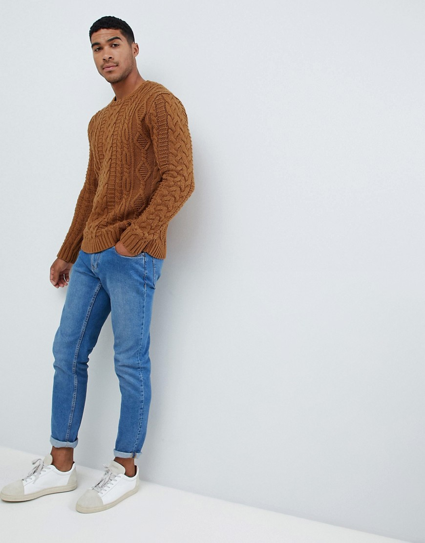 Asos Design Heavyweight Cable Knit Jumper In Mustard by Asos Design