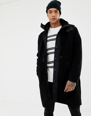 ASOS DESIGN heavyweight longline parka in borg in black
