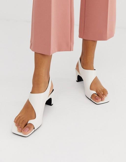 Image 1 of ASOS DESIGN Hercules premium leather toe loop block heeled sandals