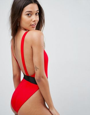 ASOS DESIGN high leg elastic waist swimsuit