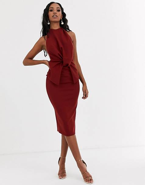 ASOS DESIGN high neck backless pencil midi dress