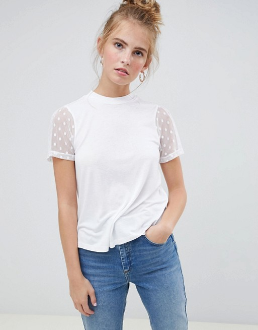 ASOS DESIGN high neck t-shirt with dobby mesh sleeve