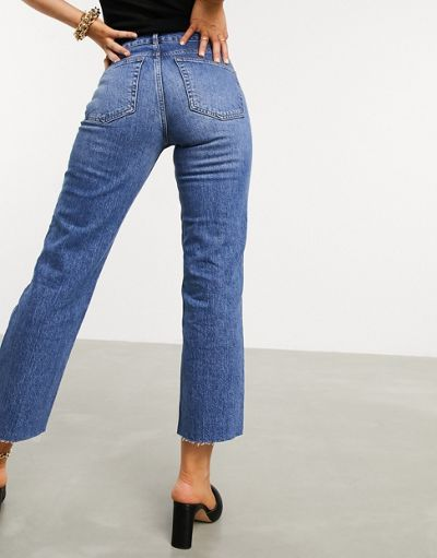ASOS DESIGN High rise 'effortless' stretch kick flare jeans in mid vintage wash