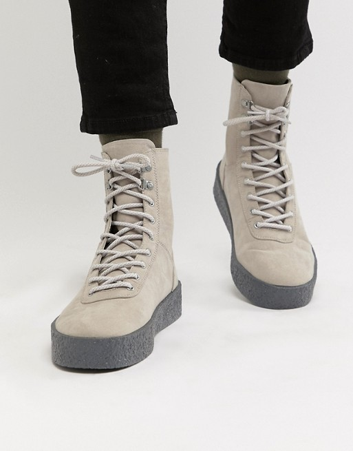 Image 1 of ASOS DESIGN high top hiker sneakers in gray