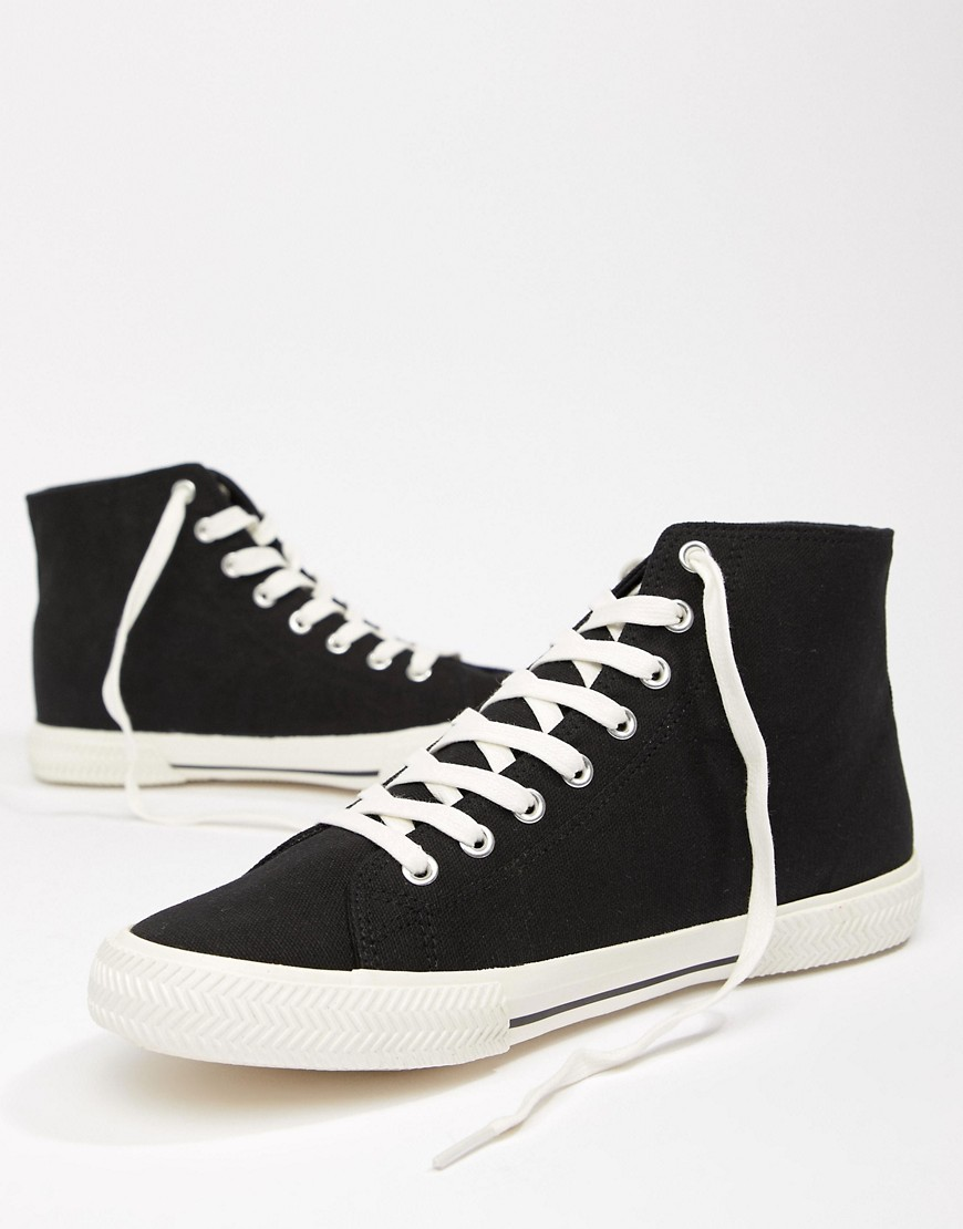 Asos Design High Top Lace Up Plimsolls In Black by Asos Design