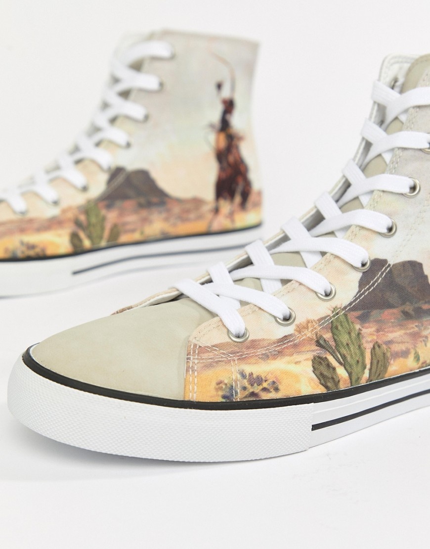 Asos Design High Top Plimsolls With Western Print by Asos Design