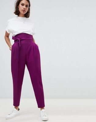 ASOS DESIGN high waist balloon tapered trouser