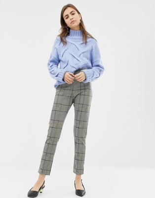 ASOS DESIGN high waist skinny trouser in check jacquard