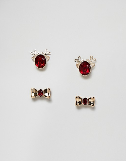 Image 1 of ASOS DESIGN Holidays pack of 2 earrings in reindeer and bow design