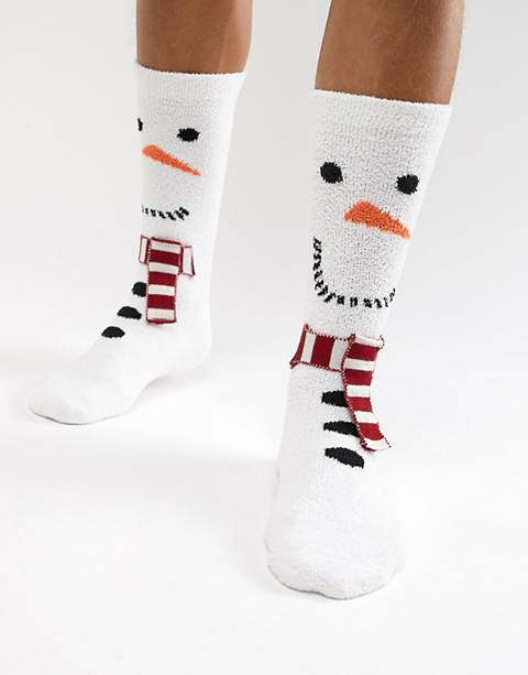 ASOS DESIGN Holidays snowman socks with fluffy lining
