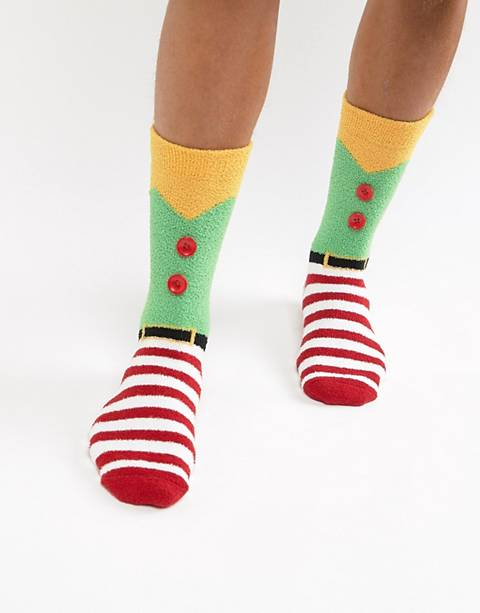 ASOS DESIGN Holidays socks in elf costume design with fluffy lining