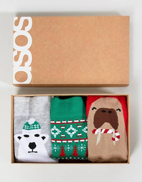 ASOS DESIGN Holidays socks with polar bear & walrus design 3 pack in gift box