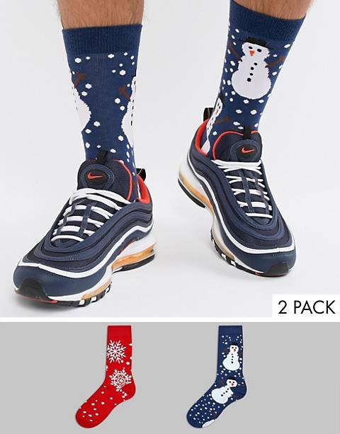 ASOS DESIGN Holidays socks with snowman & snowflake design 2 pack