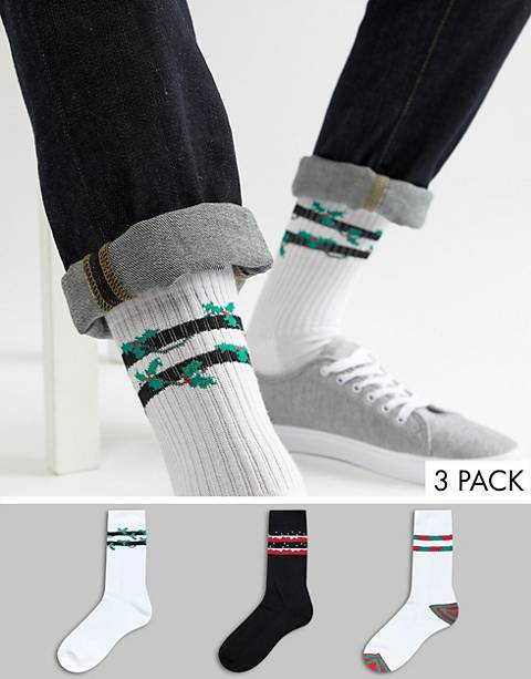 ASOS DESIGN Holidays sports style socks with festive stripes 3 pack