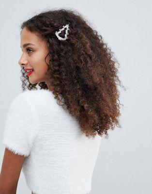 ASOS DESIGN Holidays tree hair clip in crystal