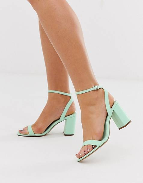 ASOS DESIGN Hong Kong barely there block heeled sandals in mint