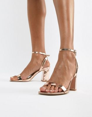 ASOS DESIGN Hong Kong barely there block heeled sandals in rose gold