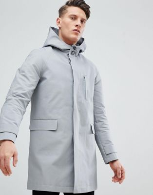 ASOS DESIGN hooded trench coat with shower resistance in grey