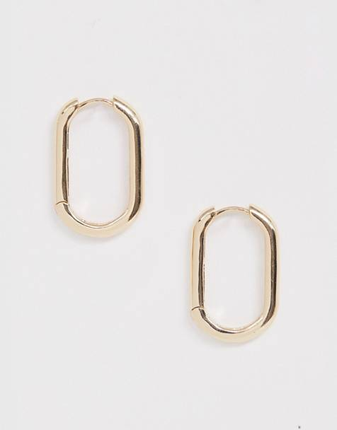 ASOS DESIGN hoop earrings in rectangle hinge design in gold tone