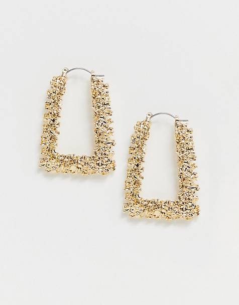 ASOS DESIGN hoop earrings in square shape in gold tone