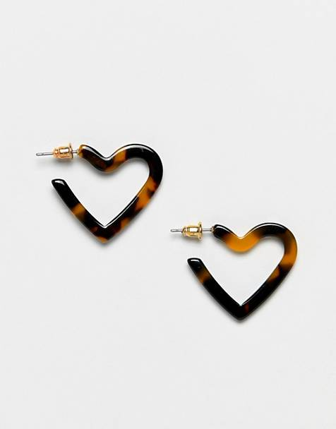 ASOS DESIGN hoop earrings in tortoiseshell heart design
