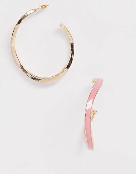 ASOS DESIGN hoop earrings in wavey design with pink enamel in gold tone