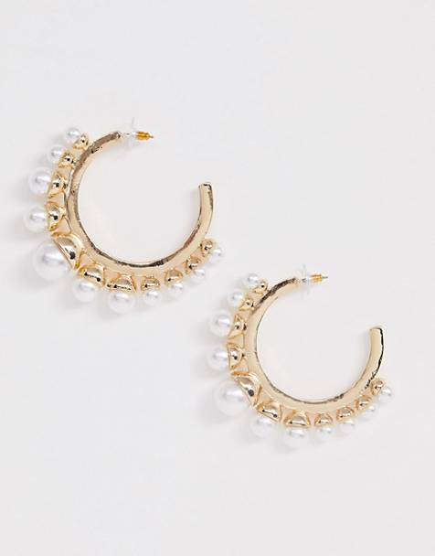 ASOS DESIGN hoop earrings with graduating pearls in gold tone