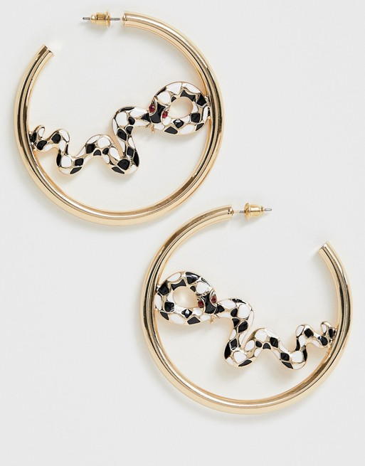 ASOS DESIGN hoop earrings with painted snake design in gold tone