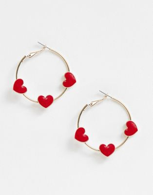 Image 1 of ASOS DESIGN hoop earrings with red love hearts in gold tone