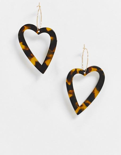 ASOS DESIGN hoop earrings with tortoiseshell heart charm in gold tone
