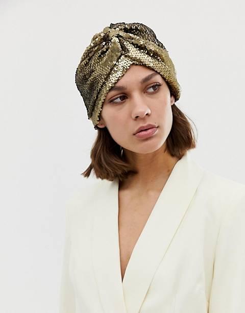 ASOS DESIGN – Hut mit goldenen Pailletten und Knotendetail vorn