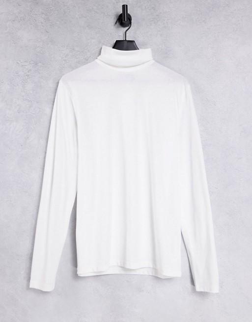 ASOS DESIGN - Hvid t-shirt i jersey med rullekrave og lange ærmer