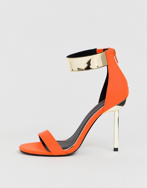 ASOS DESIGN Hydroid barely there heeled sandals in neon orange