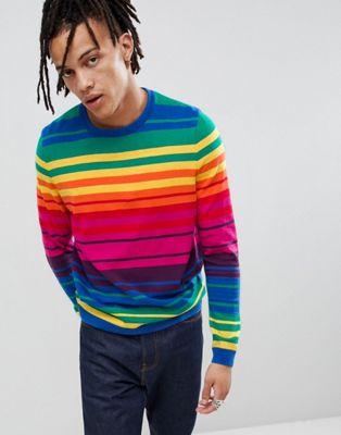 ASOS DESIGN – In Regenbogenfarben gestreifter, gestrickter Jumpsuit
