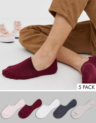 Image 1 of ASOS DESIGN invisible liner sock in muted tonals 5 pack multipack saving
