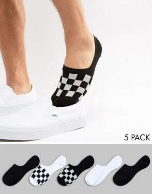 Image 1 of ASOS DESIGN invisible liner socks with checkerboard design 5 pack