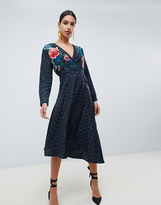 Image 1 of ASOS DESIGN jacquard wrap midi dress with long sleeves and embroidery