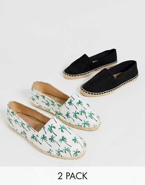 ASOS DESIGN Jally Wide Fit Two Pack Espadrilles