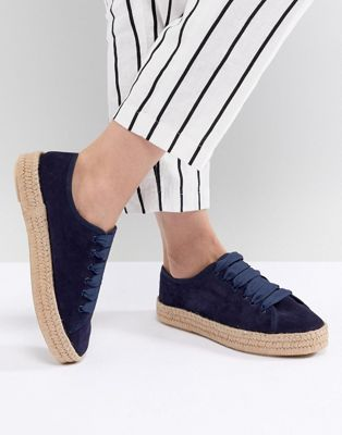ASOS DESIGN Jan Suede Lace Up Espadrilles