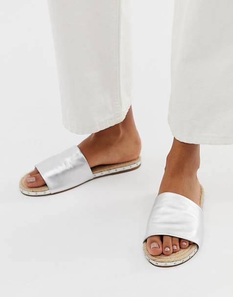 ASOS DESIGN Jarvis leather studded espadrille mules
