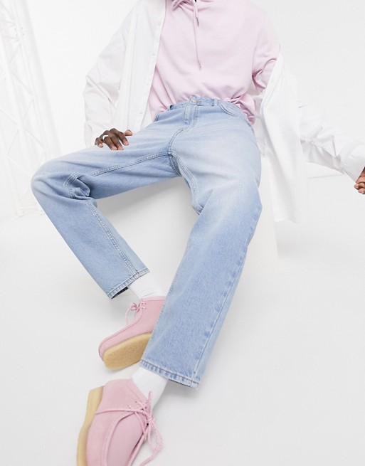ASOS DESIGN - Jeans classici rigidi lavaggio chiaro blu vintage